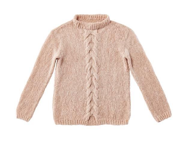 Strickmuster: Pullover mit Zopfmuster mittig