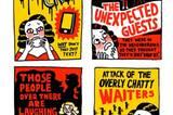 """Hier zeichnet Gemma Correll Filmplakate über den Horror des wirklichen Lebens (von oben links): """"Der Anruf - warum schreiben mir die Leute nicht einfach?"""", """"Unerwartete Gäste - sie waren in der Gegend und sind einfach mal vorbeigekommen."""" - """"Die Leute da drüben lachen - sie lachen bestimmt über mich."""" und """"Die Attacke der geschwätzigen Menschen - du willst essen, aber sie wollen reden."""""""