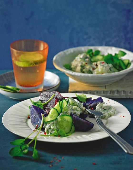 Lila Gemüse mit Makrelen-Dip