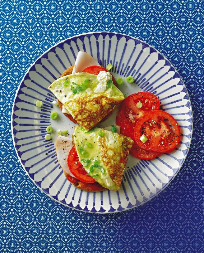 Frittata-Knäcke mit Putenschinken