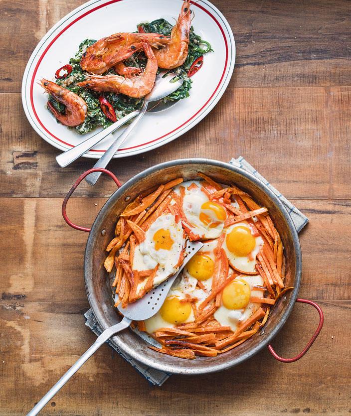 Süßkartoffelpfanne mit Ei