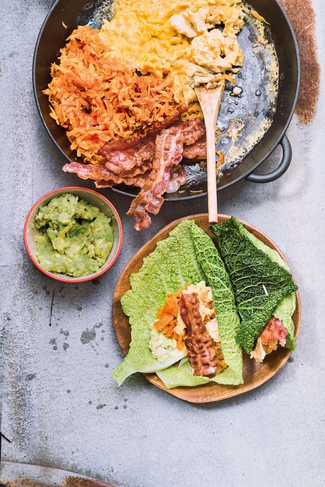 Kohl-Burritos mit Süßkartoffel-Raspeln