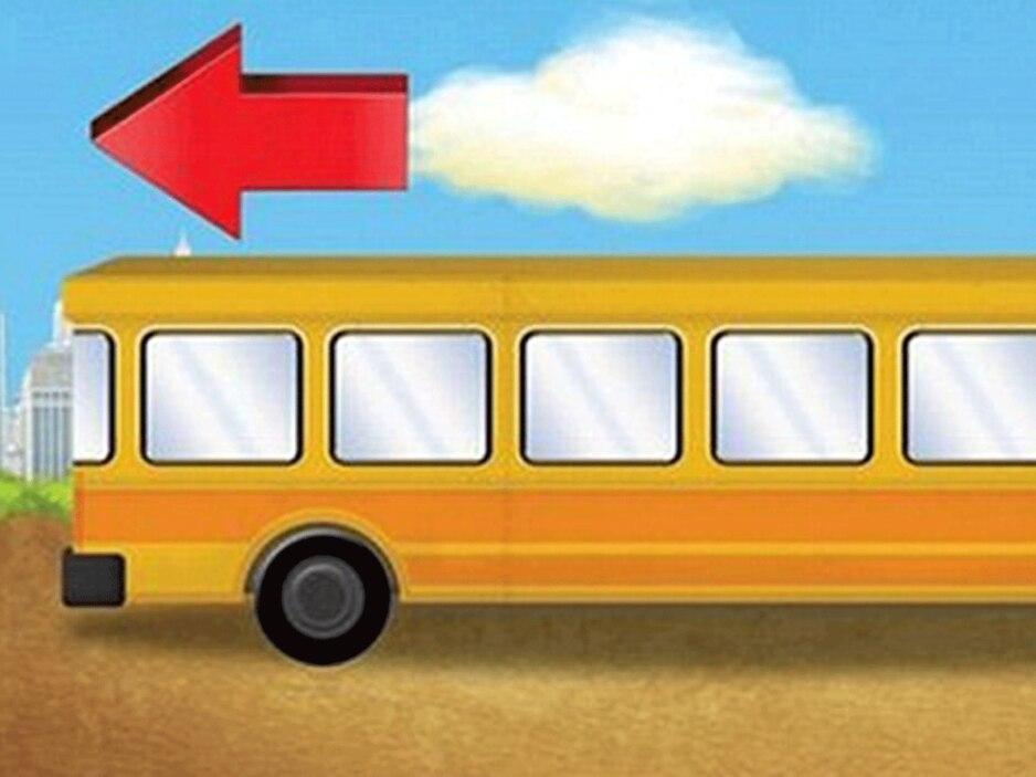Erkennst du, in welche Richtung der Bus fährt?