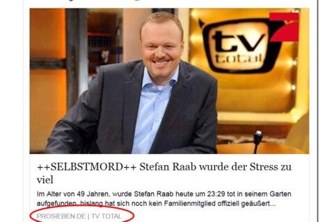Angeblicher Selbstmord von Stefan Raab ist eine fiese Facebook-Falle!
