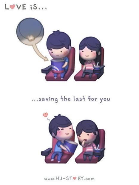 Liebe ist ... das letzte Stück Popcorn für dich aufzuheben.