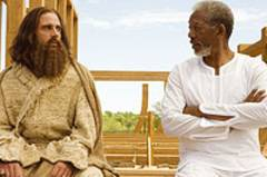 Evan Baxter (Steve Carell) diskutiert mit Gott (Morgan Freeman) das Arche-Projekt