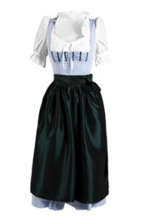 Klassisches Dirndl in hellem Blauton mit Dirndl-Bluse und Schürze. Von K&L, um 125 Euro.
