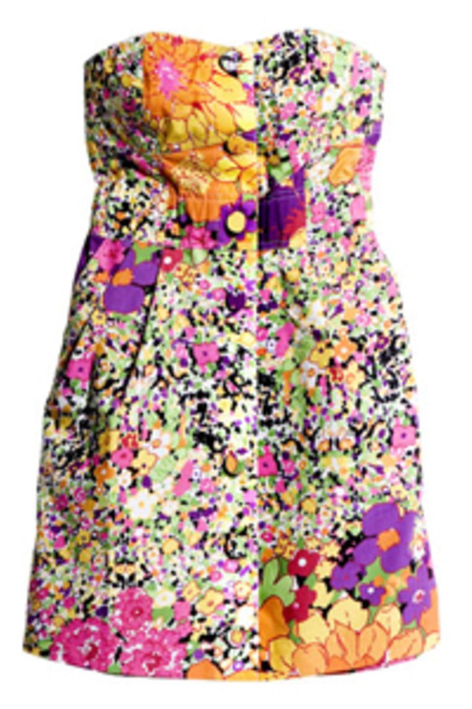Trägerloses Minikleid mit buntem All-Over-Blumenprint von H&M, um 34,90 Euro