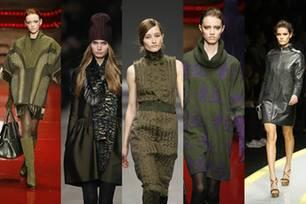 Laufsteg-Looks (v.l.n.r.) von Laura Biagiotti, Burberry, Akris, Laura Biagiotti und Versace.