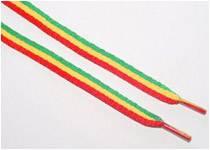 Trendige Schnürsenkel in den Rastafari Farben rot, grün und gelb gibt's für ca. 3 Euro bei www.linke-t-shirts.com