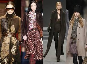 Laufsteg-Look von (v.l.n.r.) Laura Biagiotti, Dolce & Gabbana, Akris und Burberry