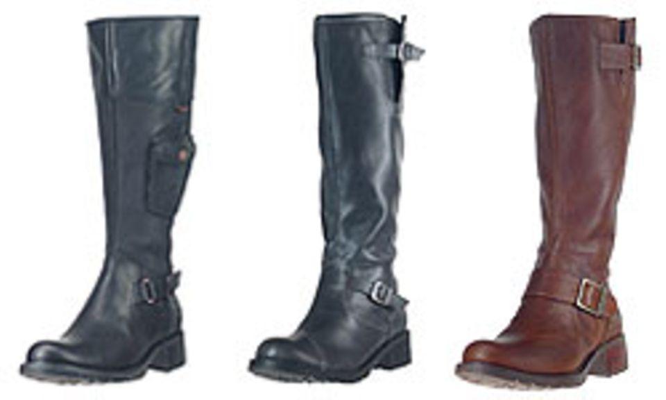 Links: Leder (Timberland, 190 Euro), Mitte: Synthetik (Cliffton, 69,95 Euro), Rechts: Leder (Timberland, 190 Euro)