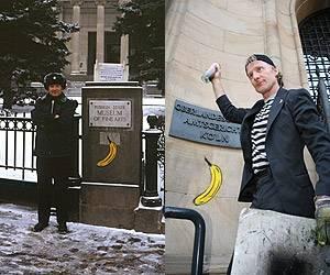 Baumgärtel vor dem Puschkin-Museum in Moskau 1996; Markierung des Oberlandesgerichts Köln mit der Spraybanane am 12.5.06