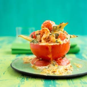 Tomaten mit Krebsfleischfüllung