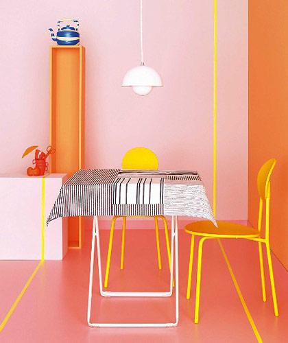 Tischdecke im Mondrian-Stil