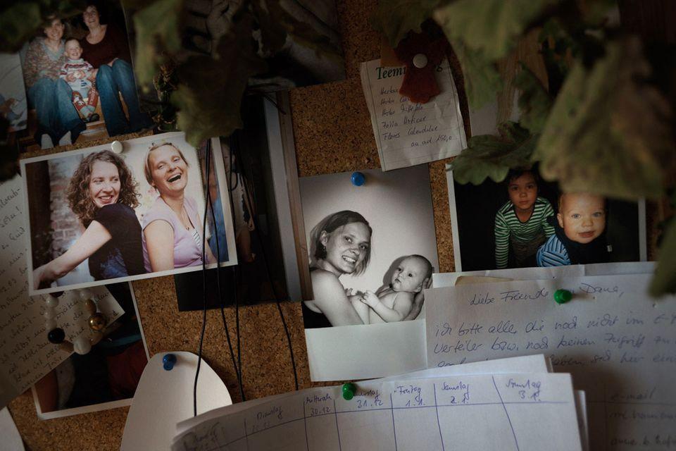 Erinnerungen: Pinnwand in Danas Zimmer auf der Palliativstation.