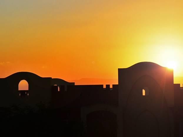 Sonnenuntergang-Blick von meinem Zimmer.