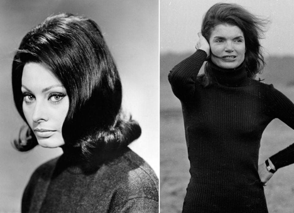 Zwei starke Frauen, ein Look: Sophia Loren (links) und Jackie Onassis im schwarzen Rolli.
