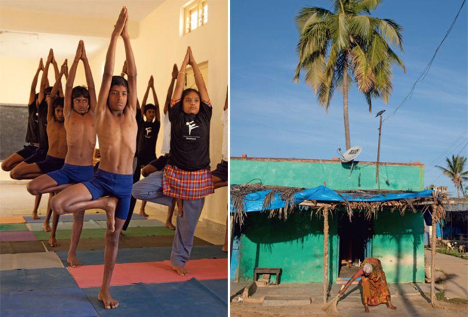 Iyengars Geburtshaus in Bellur (re.) steht noch immer. In seinem Heimatort finanziert er mit seiner Stiftung Schulen und Yogaunterricht für Kinder.