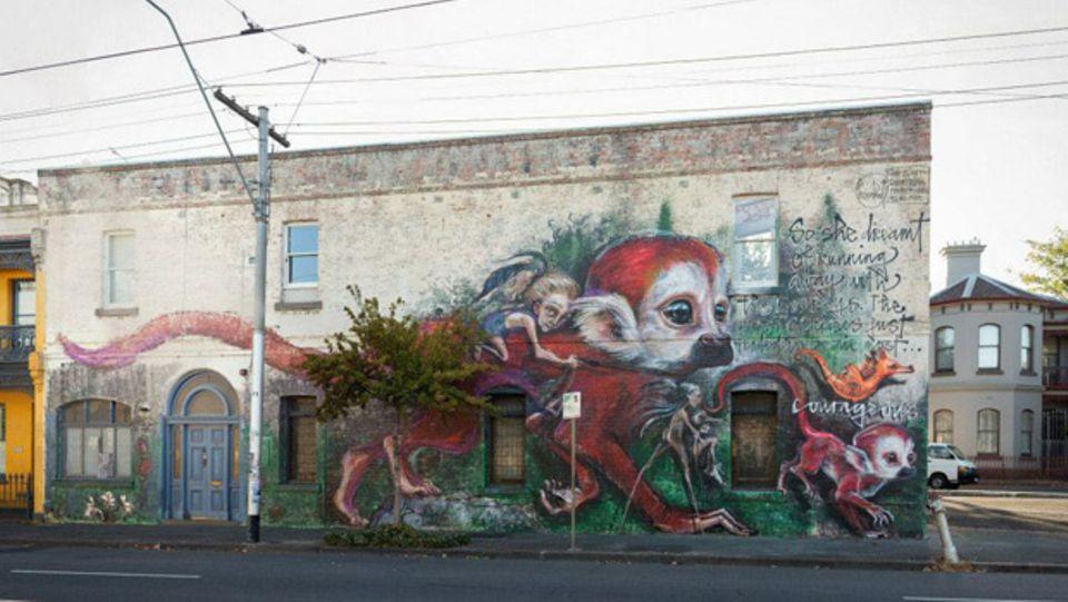Auch in Melbourne in Australien sind die Helden aus dem Kinderbuch von Herakut zu finden.