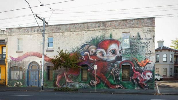 Deutsches Künstlerduo Herakut: Auch in Melbourne in Australien sind die Helden aus dem Kinderbuch von Herakut zu finden.