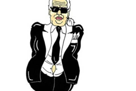 So sieht der italienische Illustrator AleXsandro Palombo den Modedesigner Karl Lagerfeld.