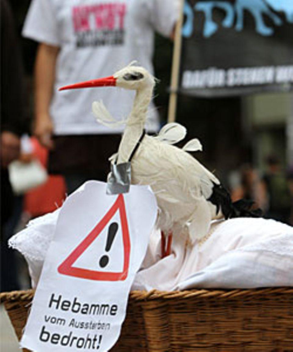 Eine bedrohte Art: Hebammen in Erfurt protestierten auf der Straße für bessere Bezahlung