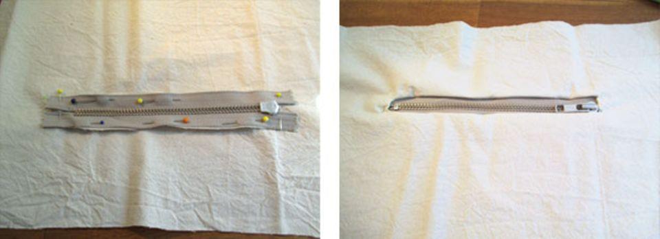 Gut gesteckt ist halb genäht, dies gilt vor allem die Feinarbeit beim Reißverschluss.