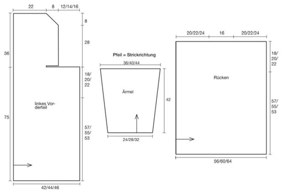 Kapuzenjacke stricken - Anleitung und Muster