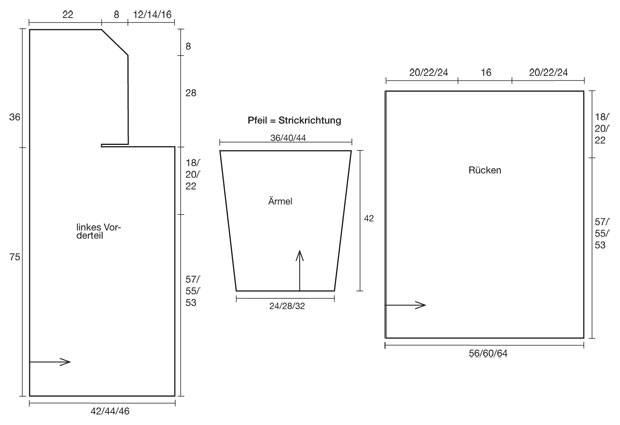 Strickmuster: Kapuzenjacke stricken - Anleitung und Muster