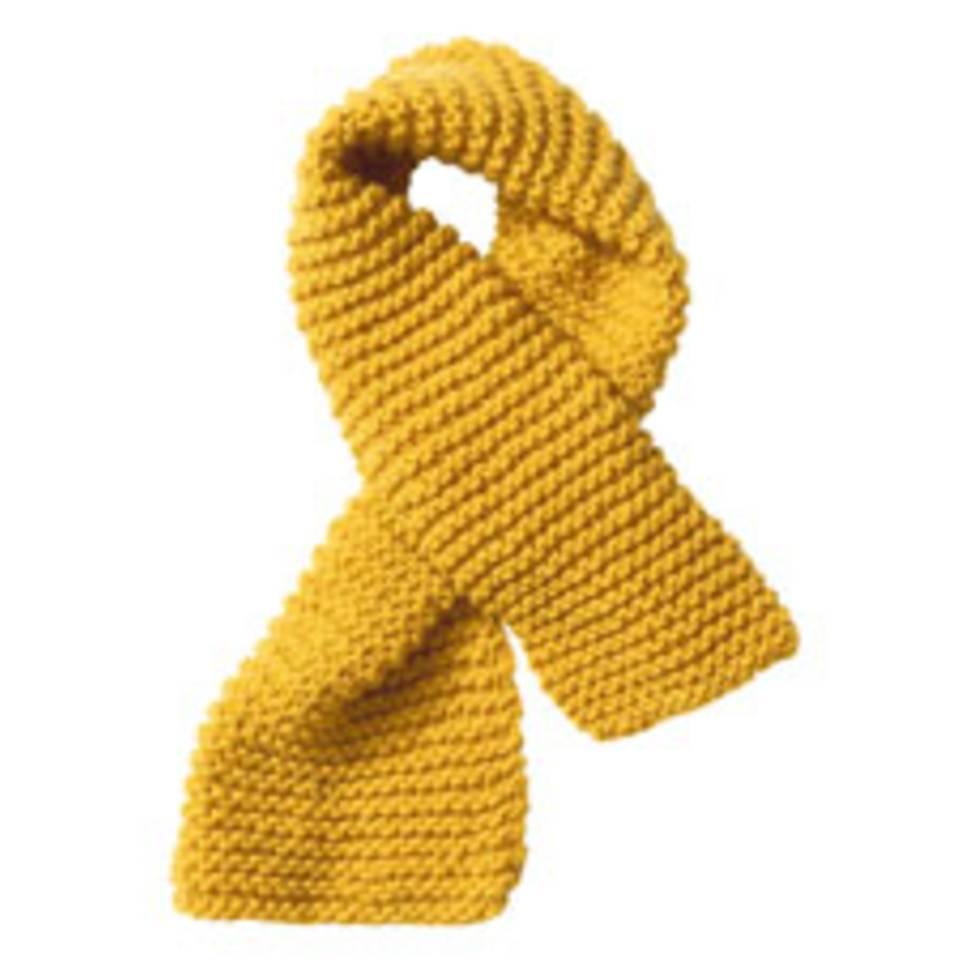 Gelber Schal aus Schurwolle - Anleitung zum Stricken