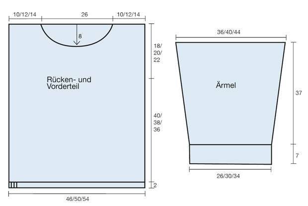 Strickmuster: Blauer Strickpulli - Anleitung zum Nachstricken