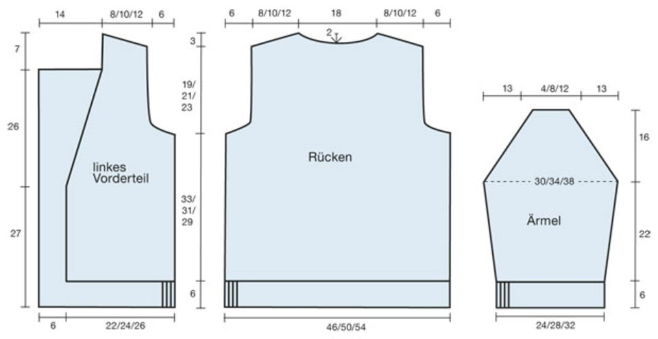 Blau melierte Jacke stricken - Anleitung und Muster