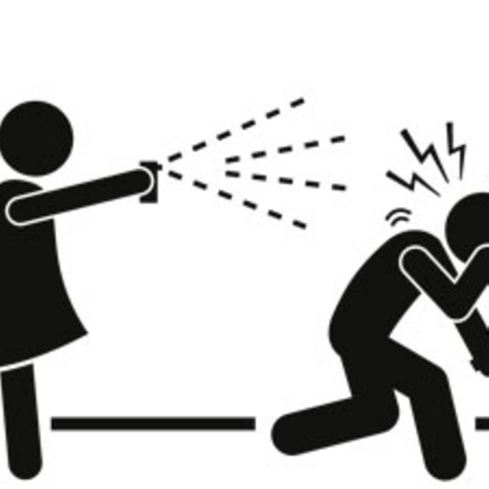 Das Pfefferspray, das den Angreifer fotografiert