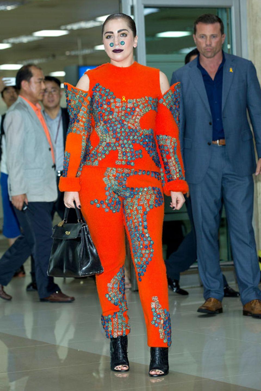 Musikerin Lady Gaga am 15. August 2014 am Flughafen von Seoul