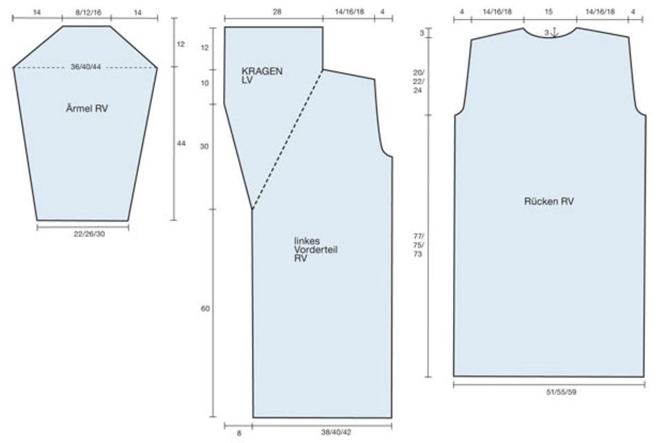 Langer Mantel: Strickanleitung und Muster