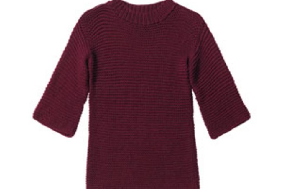 Weinroter Pullover aus Merinowolle