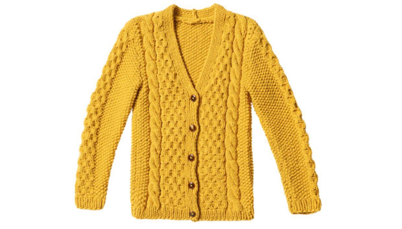 Gelbe Zopfjacke stricken - Anleitung und Muster