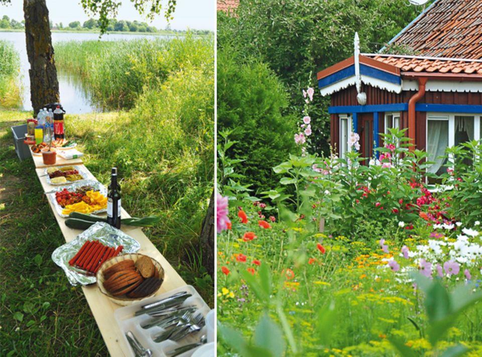 Haus in Nida & ein gedeckter Picknicktisch
