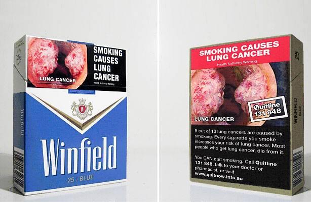 Zigarettenpackungen mit Warnhinweisen aus Australien