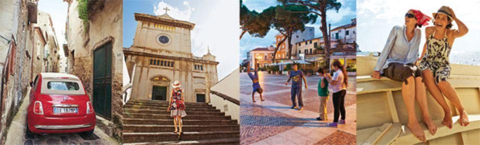 Fragen des Lebens: Passt das Auto durch die Gasse in Vatolla? Schaffe ich die Stufen zur Kirche in Positano? Wo ist der schönste Platz auf der Piazza in Castellabate? Hält der Sonnenhut auch bei Westwind?