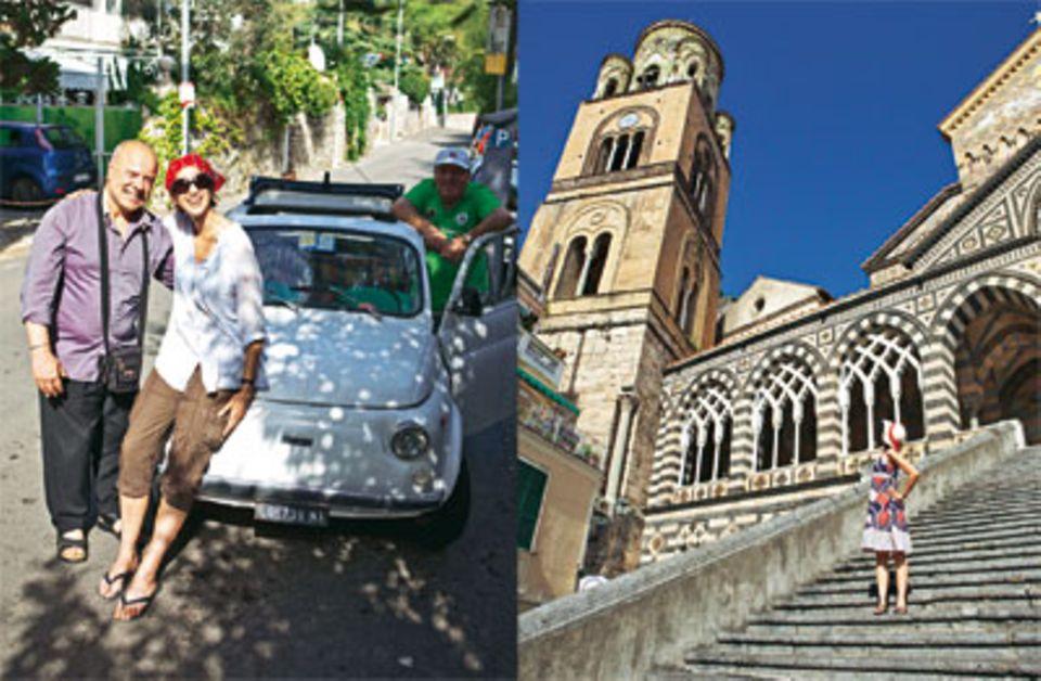 Mit Michele vor seinem alten Fiat 500, vor dem Dom von Amalfi