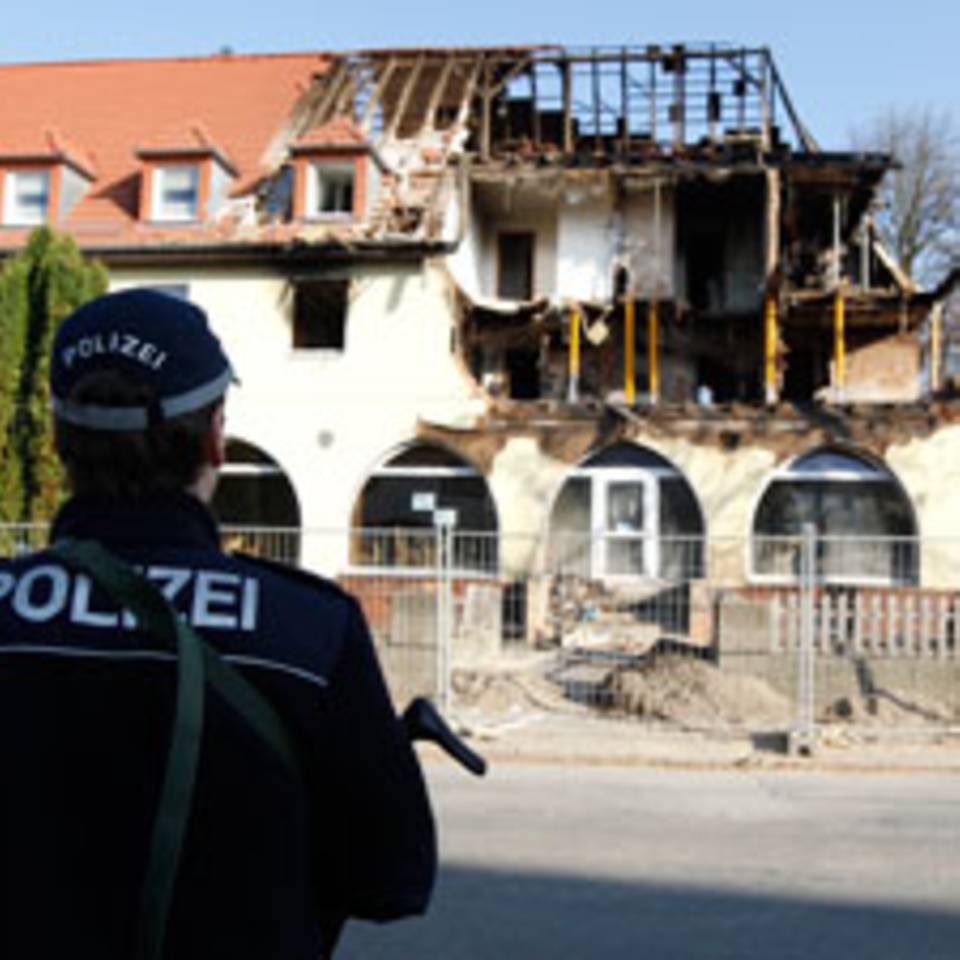 Die Überreste des Hauses in Zwickau, in der die drei Mitglieder der Terrorzelle gelebt haben