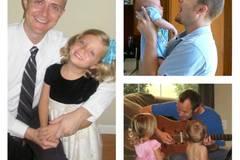 Im Uhrzeigersinn von links: Jason mit Mya, mit Matthew, singend mit beiden Kindern.