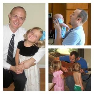 Demenz: Im Uhrzeigersinn von links: Jason mit Mya, mit Matthew, singend mit beiden Kindern.
