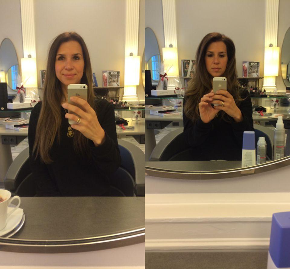 Der Vorher-Nachher-Vergleich: Aus glatten Haaren werden Glamour-Wellen.