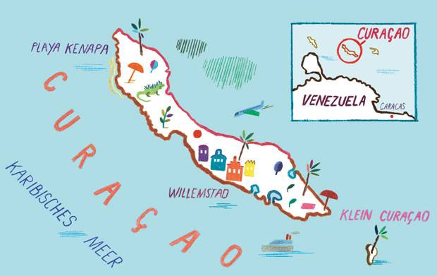 Die Karte von Curaçao