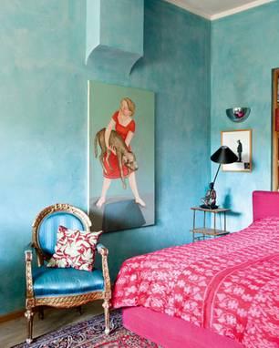 Zufluchtsort: Das türkisfarbene Schlafzimmer von Manuela von Perfall