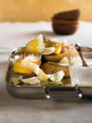 Gerichte mit Kartoffeln vom Blech