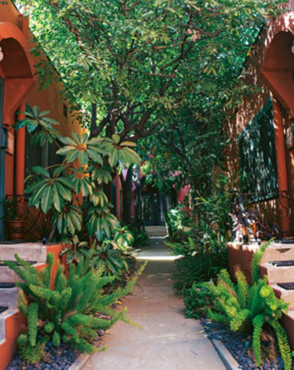 """Der Garten und die Bungalows sind so heimelig, dass Gäste der Lodge """"Los Feliz"""" Wurzeln schlagen möchten"""